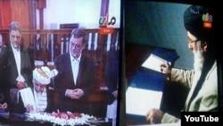 Owganystanyň prezidenti Aşraf Ghani (ç) we meýdan komandiri Gulbuddin Hekmatýar (s) parahatçylyk ugrunda ylalaşyga gol çekýärler, Kabul, 29-njy sentýabr, 2016.