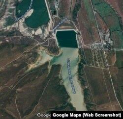 Qarasuvbazar yapma gölüniñ Google haritasında süreti