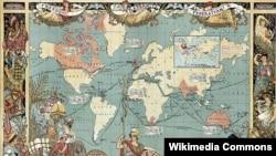 Карта мира (1886). Районы, находящиеся под британским контролем, выделены красным цветом