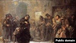 Люк Філдэс, «Прэтэндэнты на месца ў начлежным доме» (1874).