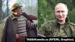 Леонід Брежнєв (ліворуч) і Володимир Путін, комбінована фотографія