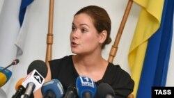 Мария Гайдар на пресс-конференции в Одессе 22 июля