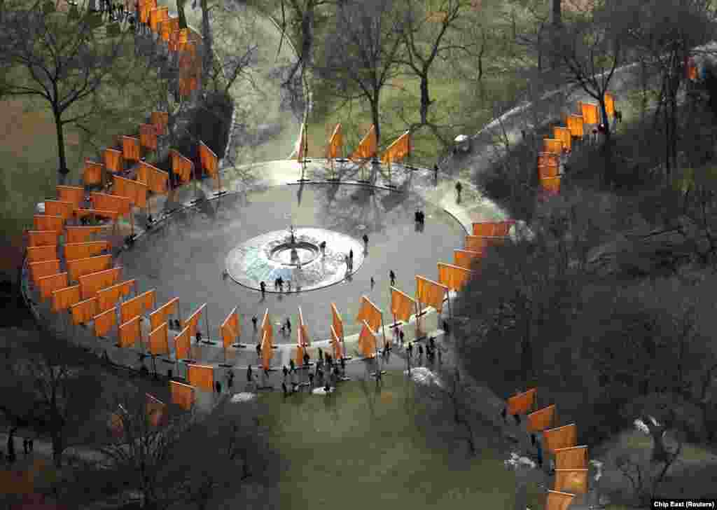 An aerial view of Christo's The Gates project for Central Park in New York City in February 2005