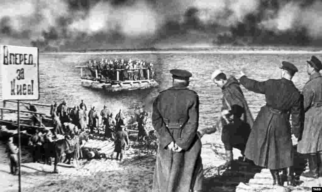 During World War II, a sacred period of history for the Soviet Union during which it lost some 20 million lives, the retouchers attempted to improve on reality. This clumsy photo montage of Red Army troops crossing the Dnieper River was probably created by stacking a snippet of one photographic negative atop another.