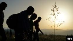 عکسی از پناهجویان در مرز یونان و مقدونیه، عکس تزئینی است