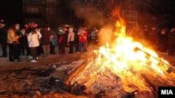 Коледарски оган во Скопје.