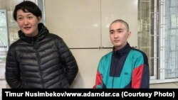 Asiya Tulesova (left) and Beibarys Tolymbekov before their trial at court in Almaty on April 21.