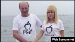 Fostul președinte Traian Basescu și fosta candidată la președinție din partea PMP, Elena Udrea