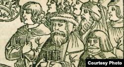 Фрагмэнт тытульнага ліста Кнігі Другазаконьне. 1519 год. Паводле Пятра Войта, крайні справа — чэскі кароль Іржы з Падэбрад, крайні зьлева — чэскі кароль Людвіг Ягайлавіч.