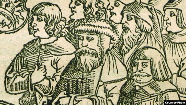 Фрагмэнт тытульнага ліста Кнігі Другазаконьне. 1519 год. Паводле Пятра Войта, крайні справа - чэскі кароль Іржы з Падэбрад, крайні зьлева - чэскі кароль Людвіг Ягайлавіч.