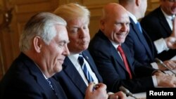 U.S. Secretary of State Rex Tillerson, President Donald Trump and National security adviser H.R. McMaster