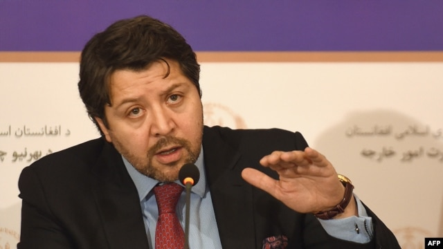 Afghan Deputy Foreign Minister Hekmat Karzai gestures as he speaks during a press conference at the Foreign Ministry in Kabul on January 12.