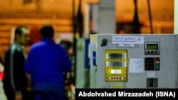 A gas meter is seen at a gasoline station in Tehran. File photo