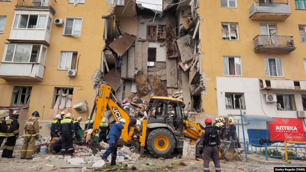 Officials say a deadly explosion in Volgograd on May 16 was caused by damage to a gas pipe.