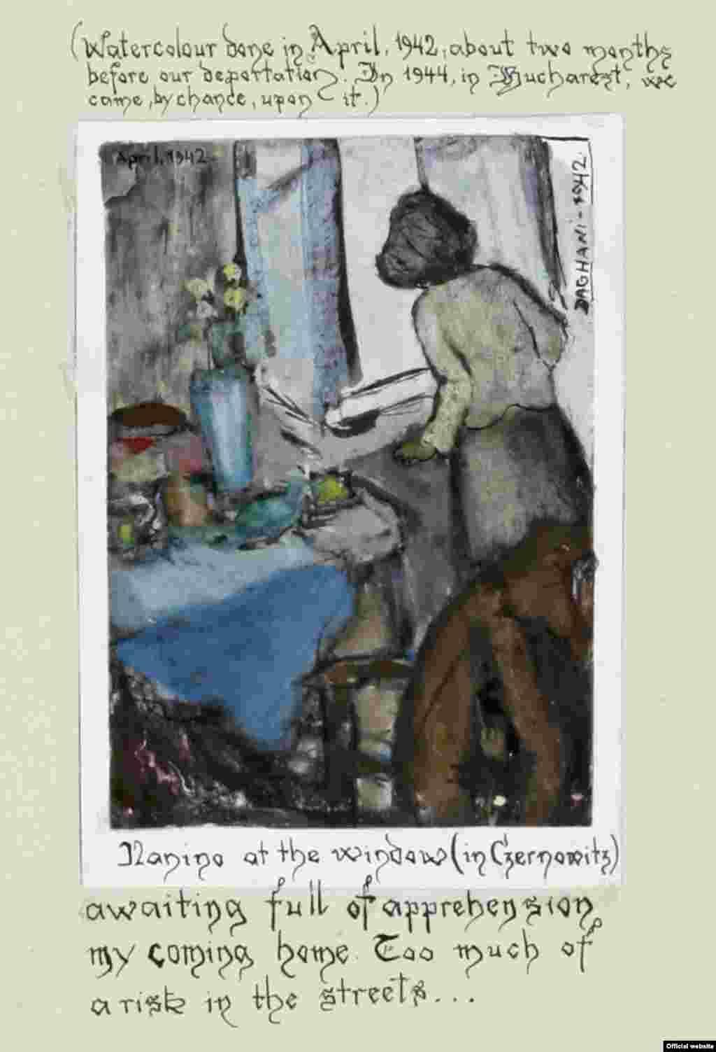 """Arnold Daghan, """"Nanino la fereastră"""", Cernăuți, aprilie 1942"""