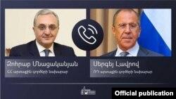 Министры иностранных дел Армении и России - Зограб Мнацаканян (слева) и Сергей Лавров