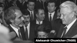 Azərbaycan prezidenti Ə.Elçibəy və Rusiya prezidenti B.Yeltsin, Moskva. 12 oktyabr 1992