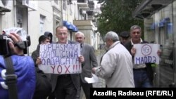 Azerbaijani opposition activists protested the amendments in Baku on November 2.