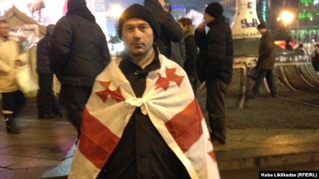 Giorgi Zhvania, a Georgian NGO worker who together with 9 other Georgians has traveled to Ukraine to support the Euromaidan protests in Kyiv.