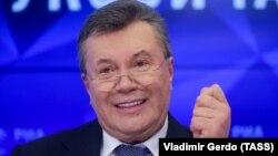 Віктор Янукович дає прес-конференцію в Москві, лютий 2019 року