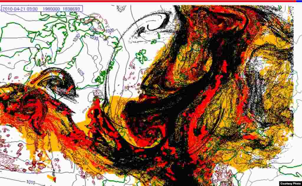 Projected spread of Icelandic ash cloud (21.4. 0300 UTC) - These images show a projection of the movement of the ash clouds from the Iceland volcanic eruption moving over Europe. The colors on the map represent: yellow: ash that has fallen by itself red: ash that has fallen by precipitation black: the actual ash cloud Source: Norwegian Meteorological Institute