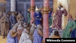 تصویری بر اساس حکایت تورات از حضور بزرگان یهود در بارگاه کوروش کبیر