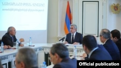 Armenia - President Serzh Sarkisian (C) harshly criticizes Prosecutor-General Aghvan Hovsepian (L) and other senior prosecutors, Yerevan, 29Oct2012.