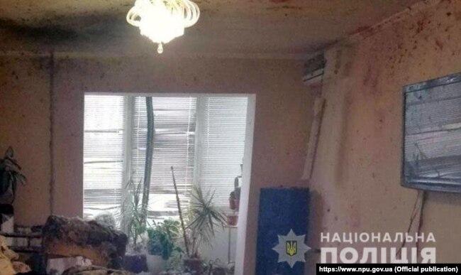 Часть места взрыва в квартире (фото Национальной полиции)