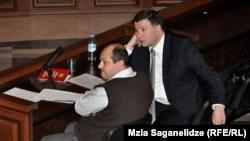 Gigi Ugulava (right), mayor of Tbilisi, in court on February 25