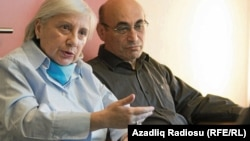 Leyla Yunus (left), and her husband, Arif, now live in exile in the Netherlands. They were detained in April 2014 and subsequently handed harsh prison terms of 8 1/2 and 7 years in prison, respectively, on charges of fraud, tax evasion, and illegal business activities. The charges have been widely decried as bogus.