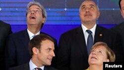 Paolo Gentiloni, Boyko Borisov, Emmanuel Macron și Angela Merkel