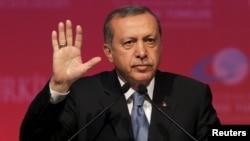 Թուրքիայի նախագահ Ռեջեփ Էրդողանը Անկարայում ելույթի ժամանակ, 11-ը հունիսի, 2015թ․