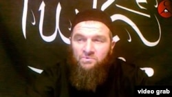 A screen grab of Chechen insurgent Doku Umarov in a recent interview posted on YouTube