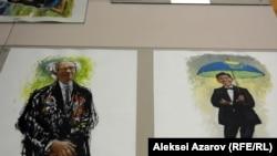 Театр актеры Юрий Померанцев пен саясаттанушы Досым Сәтбаевтың портреттері. Авторы Алексей Уткин