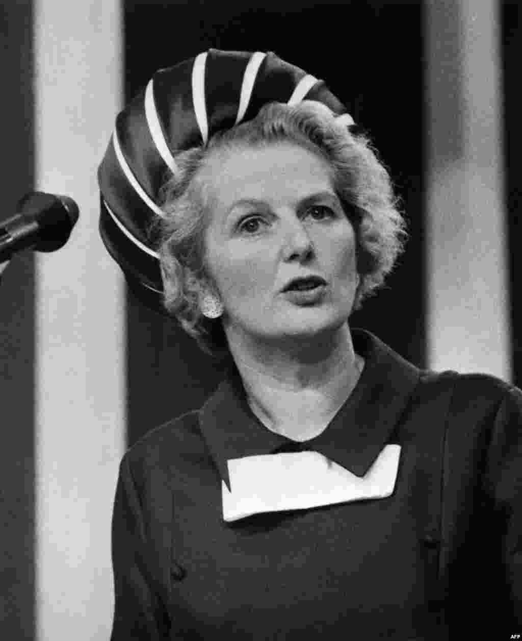 Margaret Thatcher shown in October 1970, when she was secretary of state for education and science in the government of Edward Heath