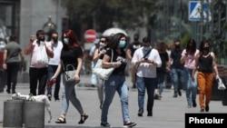 Armenia -- People wear face masks in the center of Yerevan, June 10, 2020.