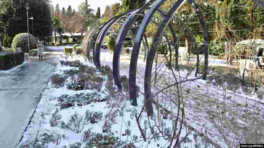 Чуть дальше от моря, в сквере имени Калинина, царит настоящая зима: земля и растения надежно укрыты снегом