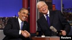 David Letterman (djathtas) gjatë një programi ku musafir e kishte presidentin amerikan Barack Obama