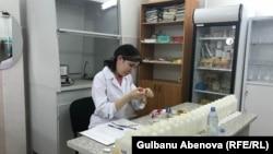 Океанариум лаборанты Айнр Аманжолова су құрамын тексеріп отыр. Астана, маусым, 2018 жыл.