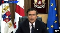 М.Саакашвілі зьвяртаецца да грамадзянаў Грузіі па ТБ, 10 жніўня