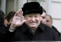 Yeltsin leaving a Berlin hospital after a check-up in February 2006 (epa)