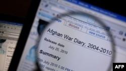 На экране компьютера увеличен заголовок информации о войне в Афганистане на сайте Wikileaks. 26 июля 2010 года.