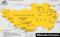 Тибеттин жана анын чар тарабындагы чөлкөмдөрдүн картасы.