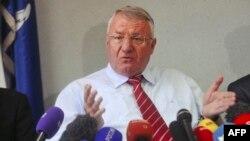 Серб ұлтшылдарының лидері Воислав Шешель. Белград, 31 наурыз 2016 жыл.