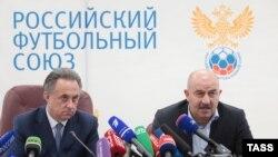 Президент Российского футбольного союза Виталий Мутко и главный тренер сборной России Станислав Черчесов