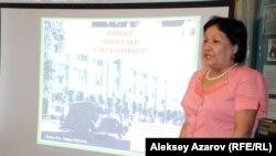 Гульнара Кудабаева, руководитель проекта «Прогулки с Мукановым». Алматы, 29 апреля 2015 года.