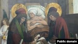 Легендарная «трансплантация». Святые Косьма и Дамиан, которым помогают ангелы, пересаживают ногу эфиопа белому человеку. Картина 16 века. Württembergisches Landesmuseum Stuttgart.