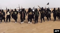 A propaganda video grab allegedly shows ISIL militants gathering at an undisclosed location in Iraq's Nineveh province. (file photo)