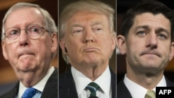 Șeful majorității republicane în Senat, Mitch McConnell, președintele Donald Trump și speakerul Camerei Reprezentanților, Paul Ryan