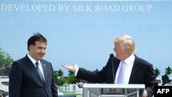 """Дональд Трамп и Михаил Саакашвили на открытии несостоявшегося проекта """"башня Трампа"""" в Батуми"""